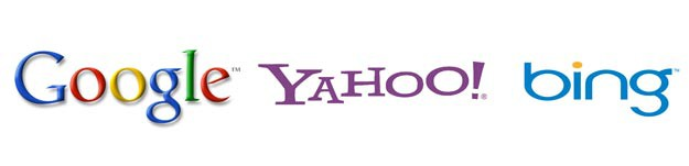 Logos des moteurs de recherches : Google, Yahoo! et Bing